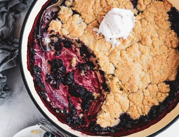 Blueberry Rhubarb Cobbler in a baking dish