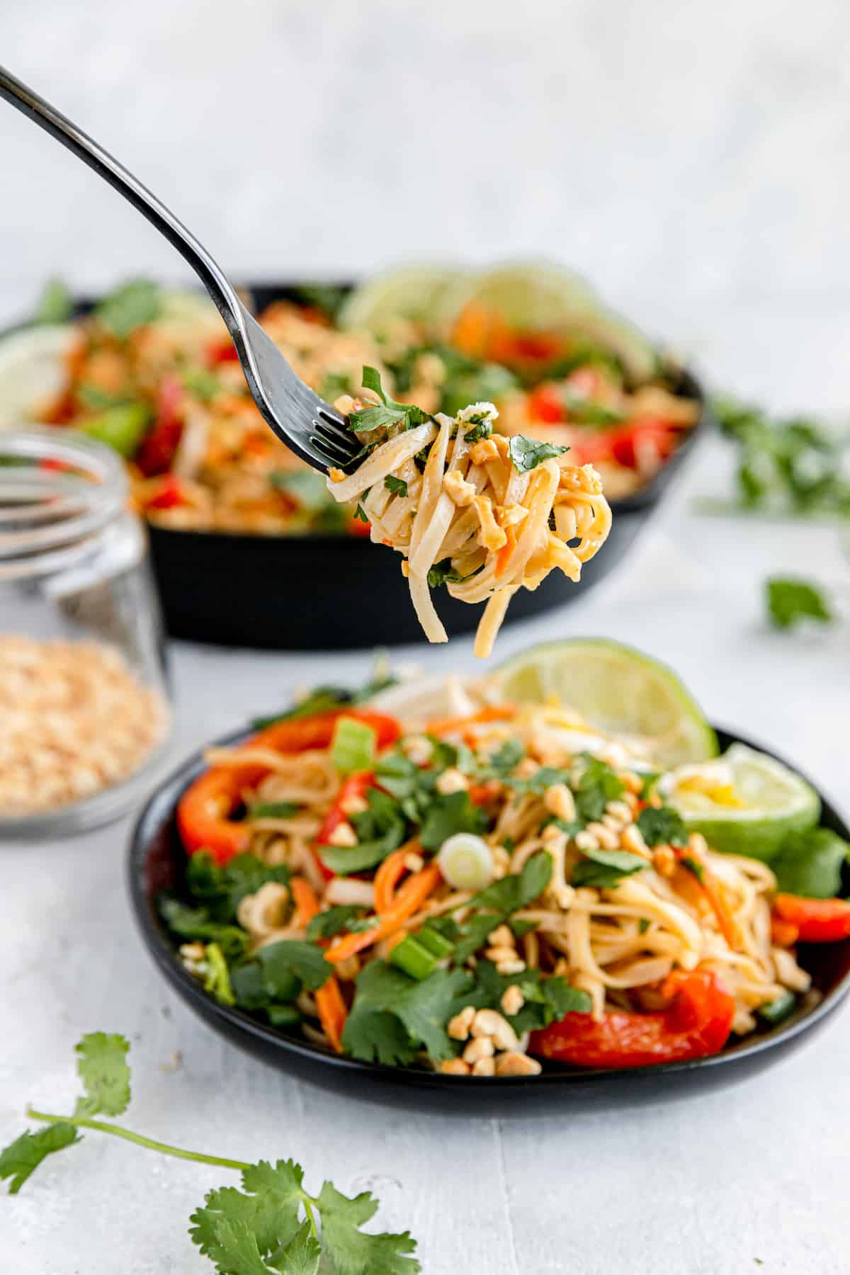 A Bite of Pad Thai on a Fork Hovering Above a Bowl Filled with a Full Serving