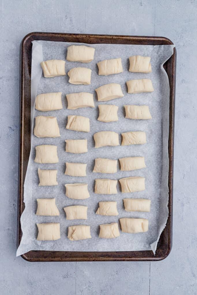 Cut pretzel dough