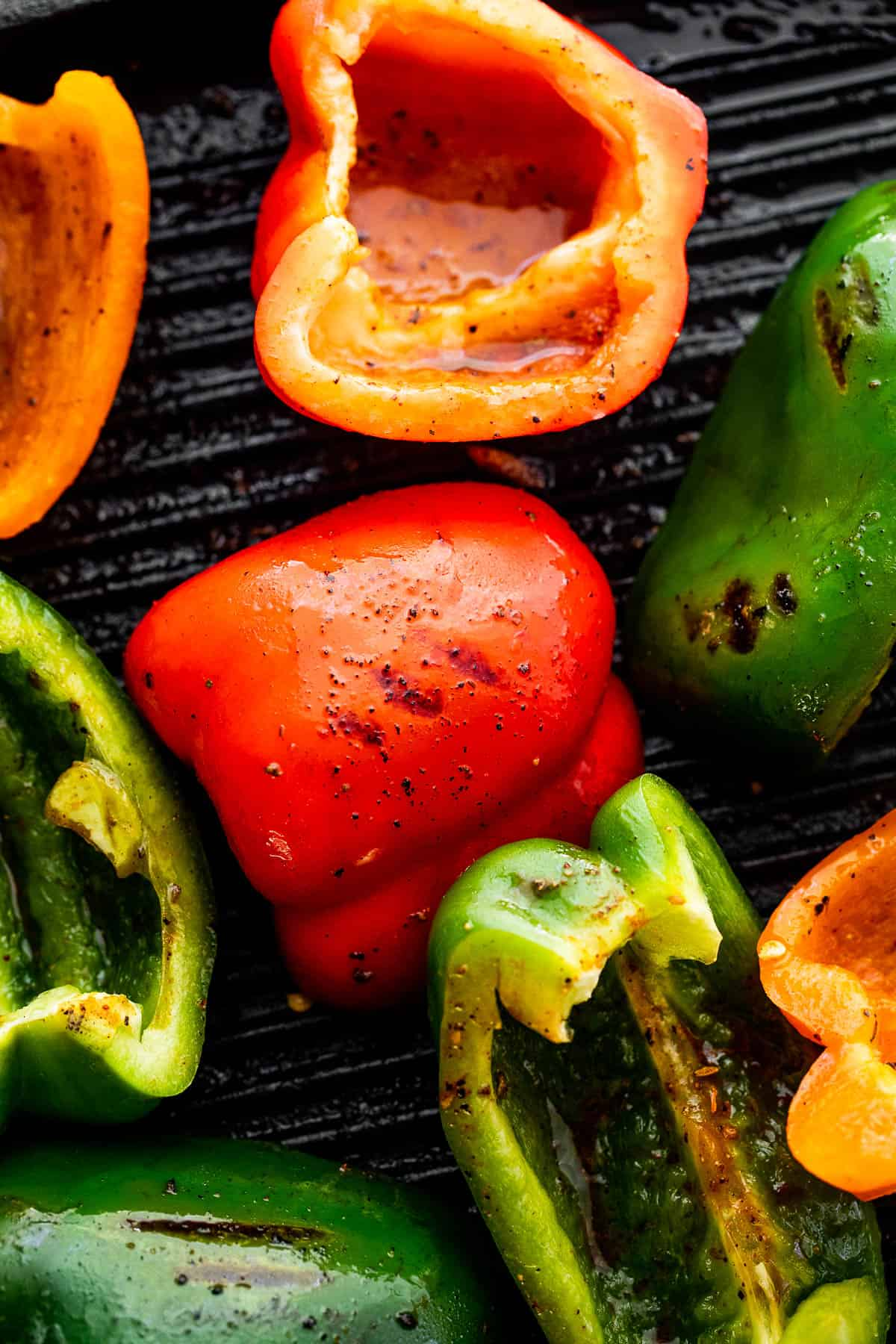 grilling bell peppers on a grill pan