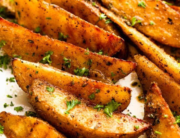 Grilled Potato Wedges on a platter