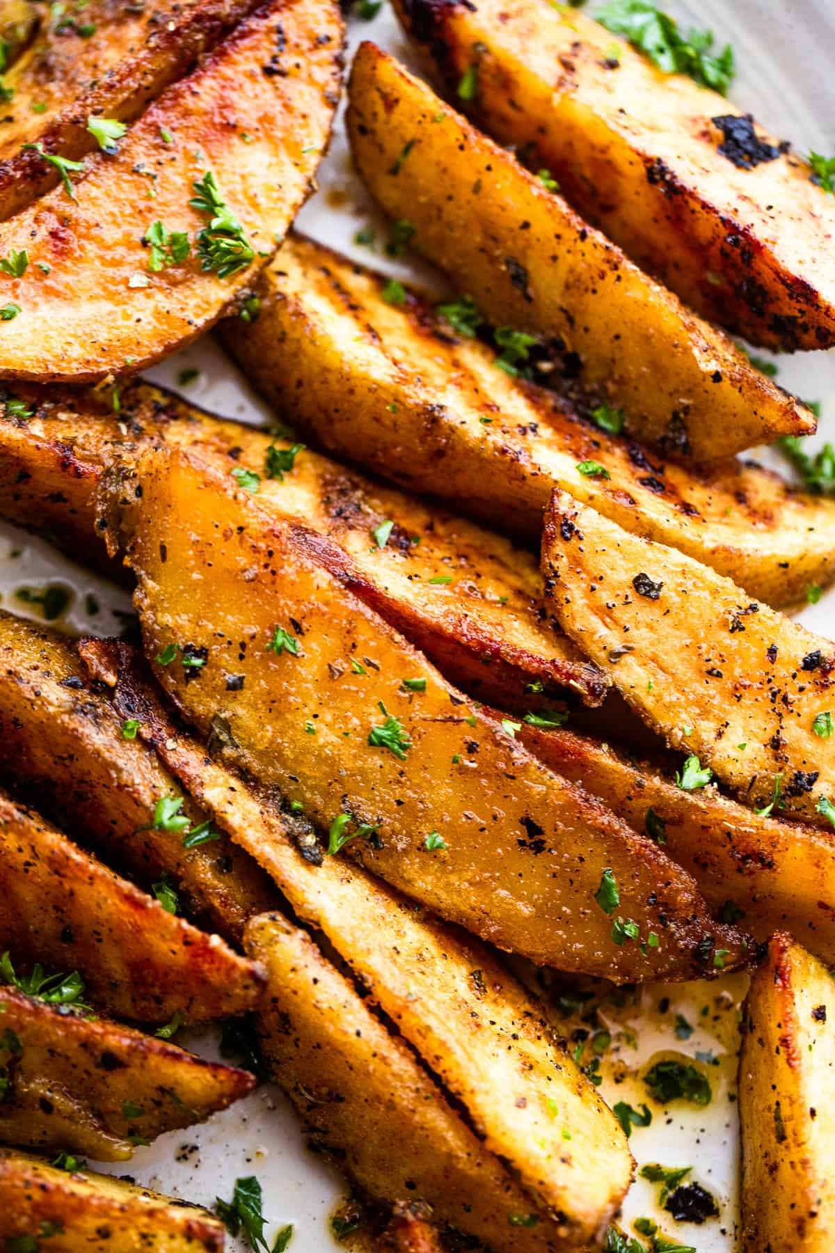 up close shot of Grilled Potato Wedges