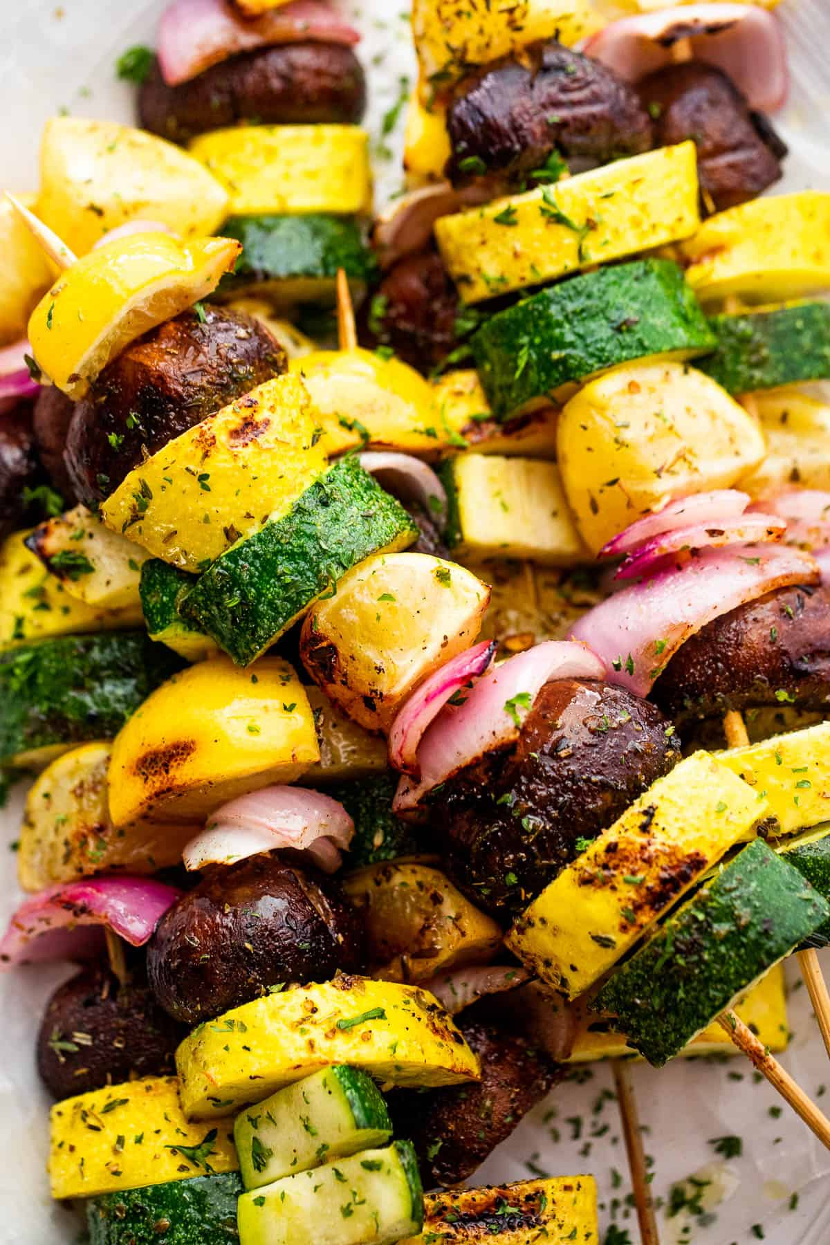 plated grilled squash skewers