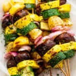plated grilled squash kebabs
