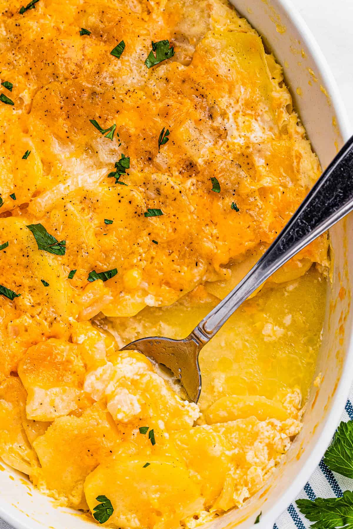 scalloped potatoes in a white casserole dish with a spoon inside the dish