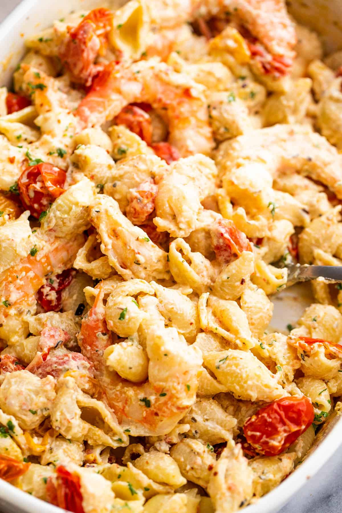 shrimp and pasta tossed with a cream cheese sauce and cherry tomatoes