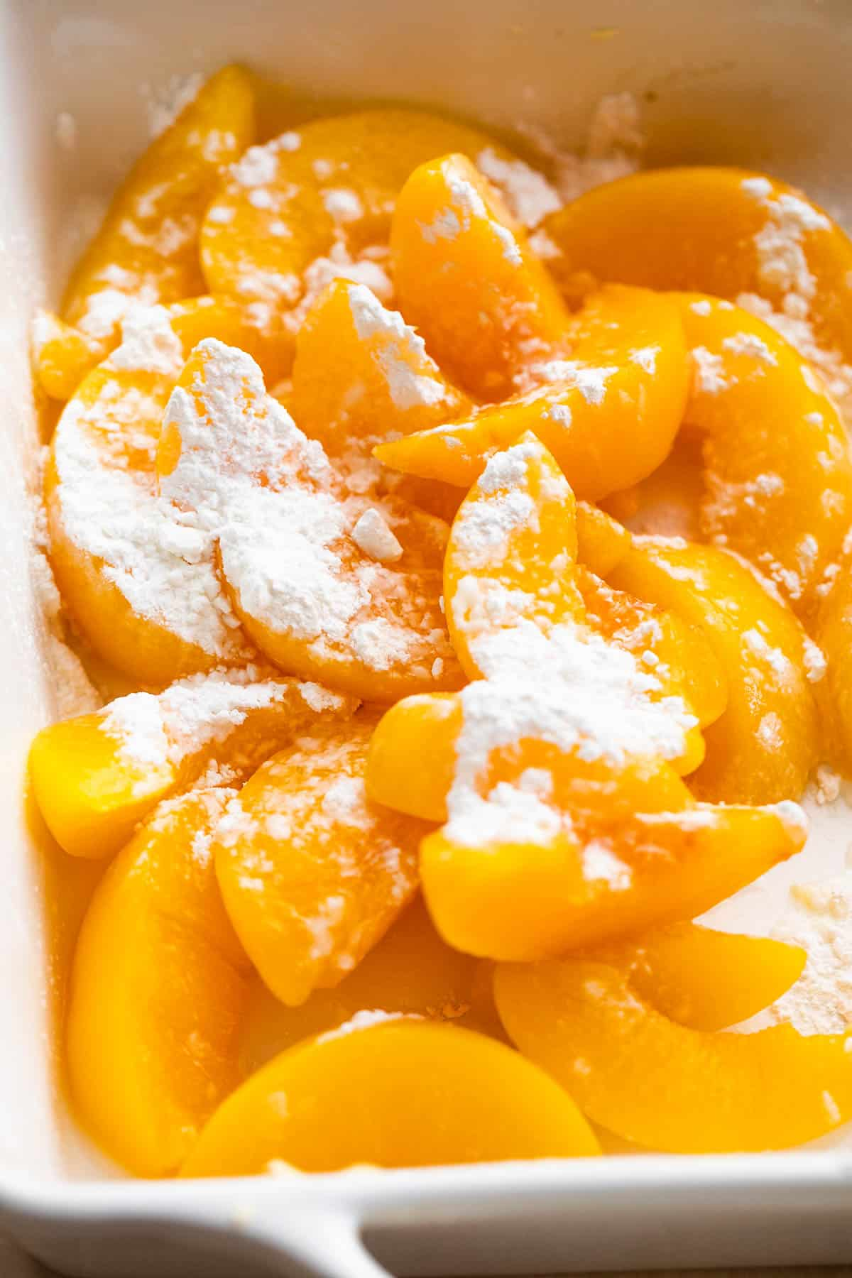 sliced peaches tossed with cornstarch
