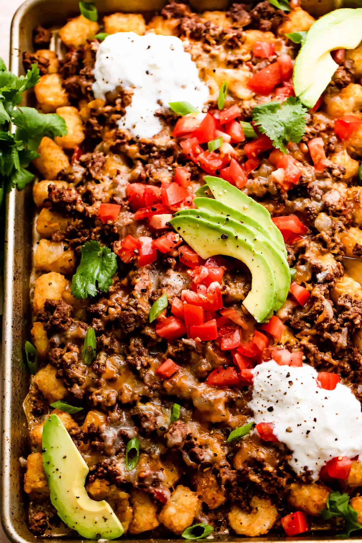 baking sheet with tater tots topped with ground beef, melted cheese, diced tomatoes, sour cream, and avocado slices